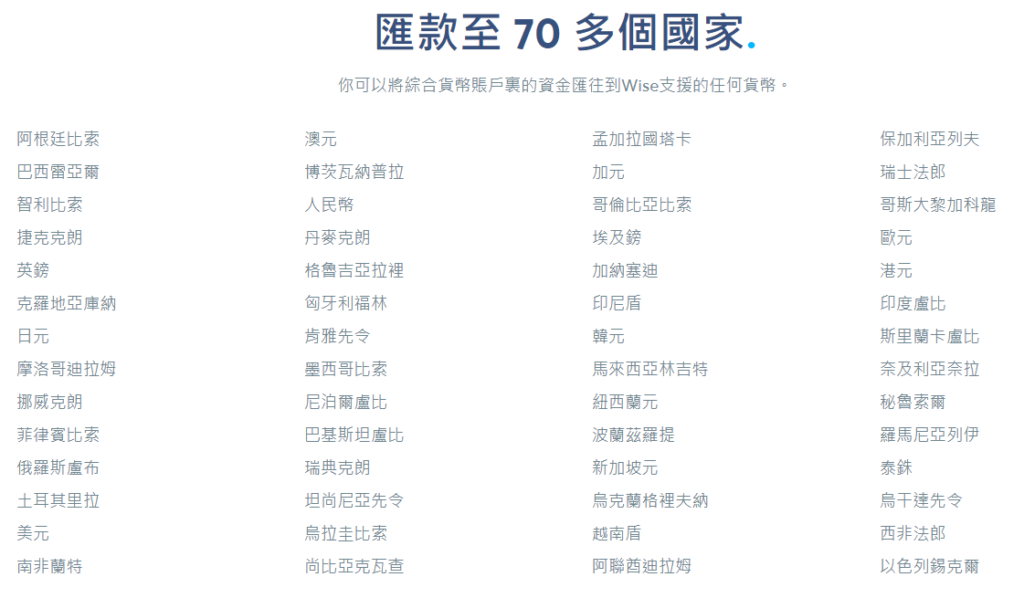 Wise匯款至70多個國家