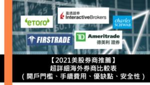 【2021美股券商推薦】超詳細海外券商比較表(開戶門檻、手續費用、優缺點、中文交易介面、投資工具、安全性)